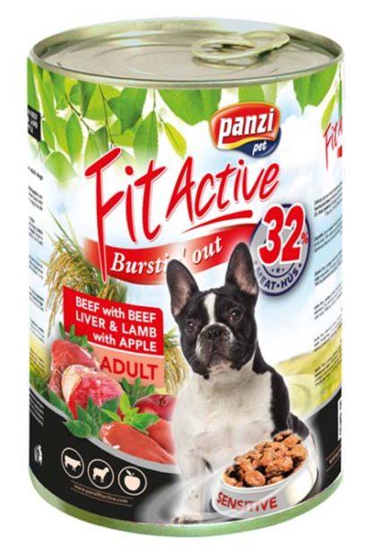 FitActive kutya konzerv marha&máj&bárány 1240g