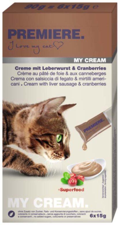 Premiere My Cream macska jutalomfalat kenőmájas&áfonya 6x15g