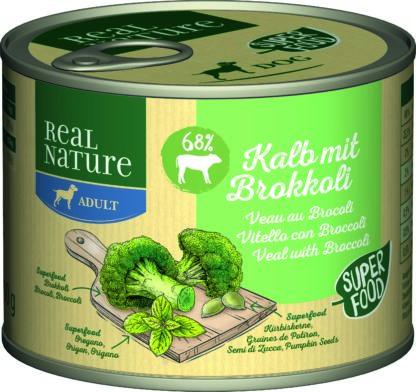 REAL NATURE Classic kutya konzerv adult borjú&brokkoli 6x200g