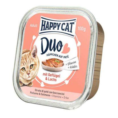 Happy Cat Duo macska tálka adult szárnyas&lazac 12x100g