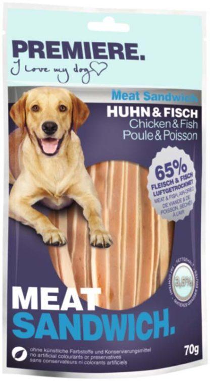 Premiere Meat Sandwich kutya jutalomfalat csirke&hal 70g