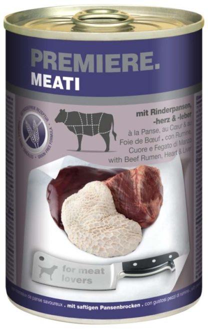 Premiere Meati kutya konzerv adult marha pacal&szív&máj 6x400g