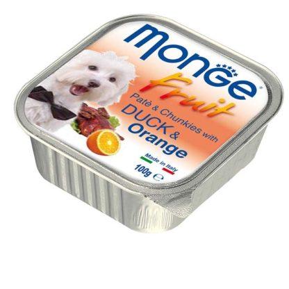 Monge Fruit kutya tálka adult kacsa&narancs 100g