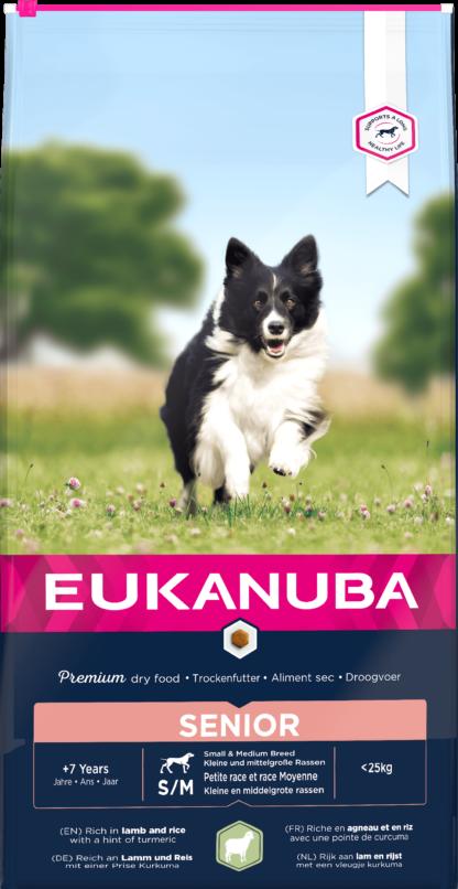 Eukanuba Small&Medium Breeds száraz kutyaeledel senior bárány&rizs 12kg